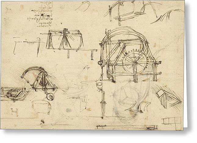 Drawings Of Geometric Figures List Of Botanical Terms Sketches Of Construction Of Onager  Greeting Card by Leonardo Da Vinci