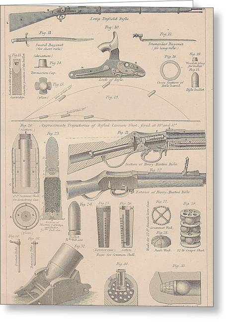 Drawings Of Gun Parts Greeting Card by Anon