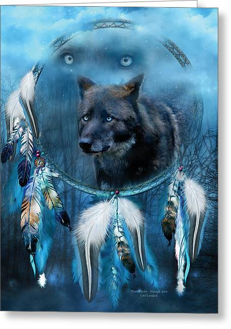 Dream Catcher - Midnight Spirit Greeting Card by Carol Cavalaris