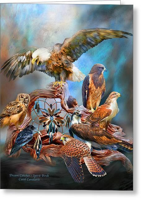 Dream Catcher - Spirit Birds Greeting Card by Carol Cavalaris