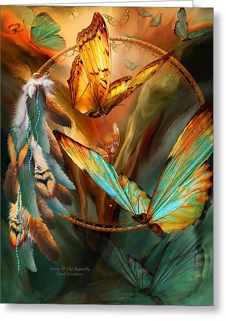 Dream Catcher - Spirit Of The Butterfly Greeting Card by Carol Cavalaris