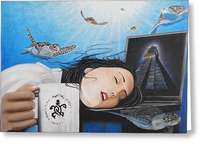 Dream Girl Greeting Card by Angel Ortiz