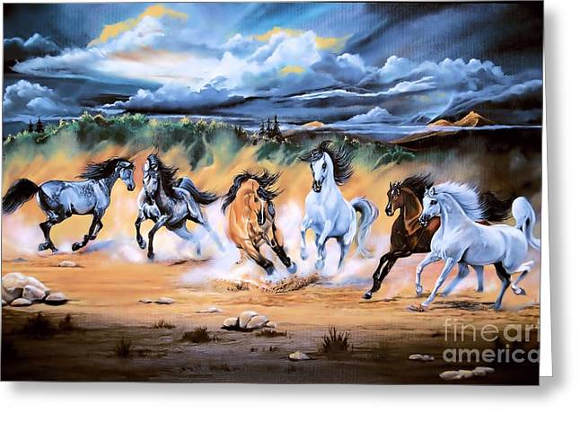 Dream Horse Series 125 - Flat Bottom River Wild Horse Herd Greeting Card