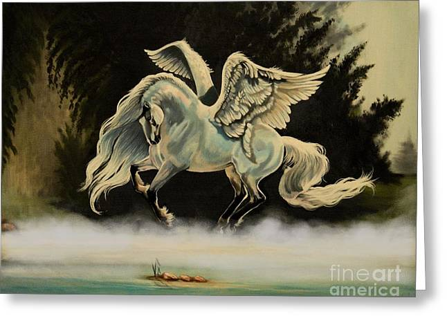 Dream Horse Series #206- A Pegasus In The Mist  Greeting Card