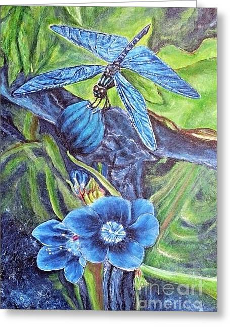 Dream Of A Blue Dragonfly Greeting Card by Kimberlee Baxter