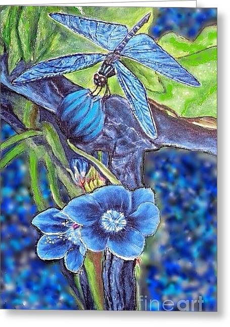 Dream Of A Blue Dragonfly Over Water Greeting Card by Kimberlee Baxter