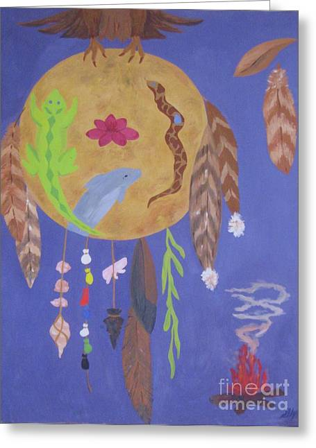 Greeting Card featuring the painting Dream Spirit Shield by Ellen Levinson