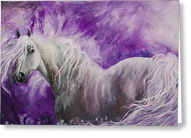 Greeting Card featuring the painting Dream Stallion by Sherry Shipley