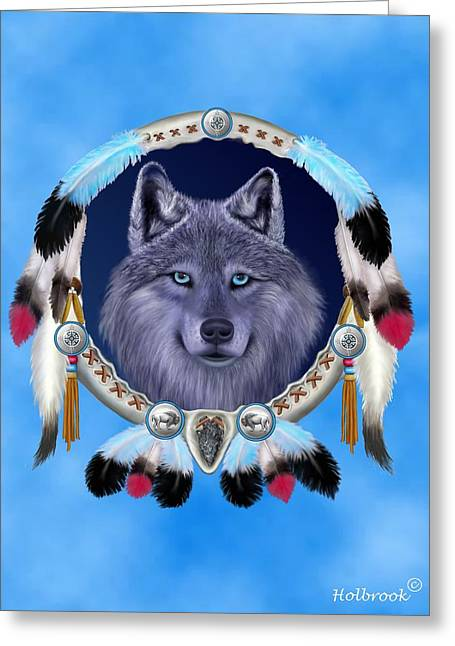 Dream Wolf Greeting Card by Glenn Holbrook