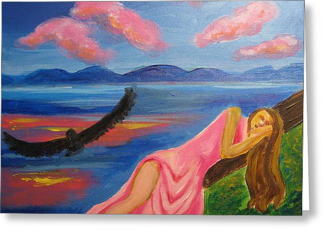 Greeting Card featuring the painting Dreaming At Eagle Lake by Diana Riukas