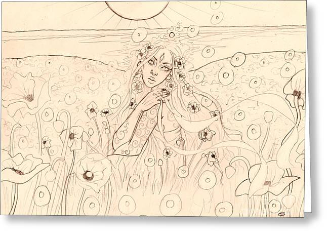 Poppy Dreams Sketch Greeting Card by Coriander  Shea