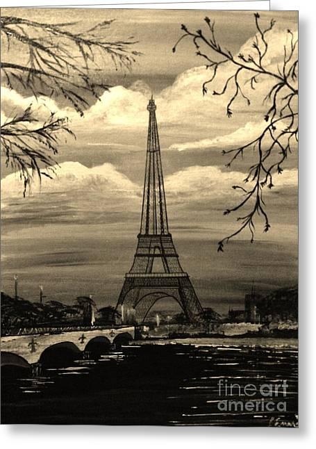 Dreaming Of Paris Greeting Card by Brigitte Emme