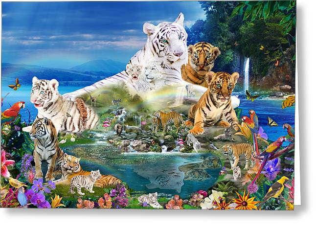 Dreaming Of Tigers  Variation  Greeting Card by Alixandra Mullins