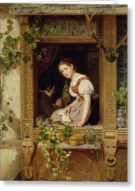 Dreaming On The Windowsill Greeting Card by August Friedrich Siegert