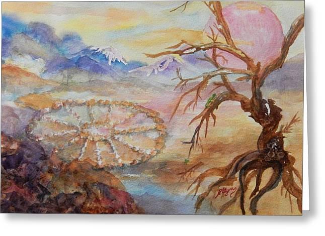 Dreaming The Medicine Wheel Greeting Card by Ellen Levinson