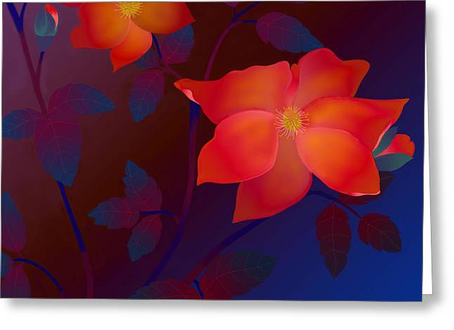 Greeting Card featuring the digital art Dreaming Wild Roses by Latha Gokuldas Panicker