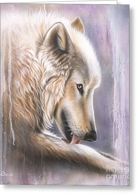 Dreamscape Wolf IIII Greeting Card by Sandi Baker