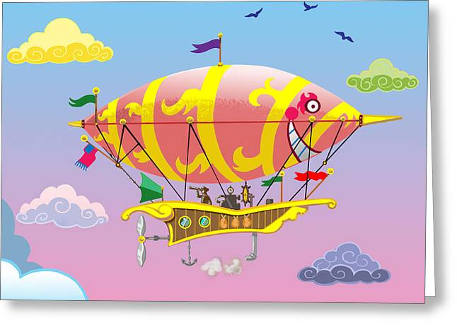 Greeting Card featuring the mixed media Rainbow Steampunk Dreamship by J L Meadows