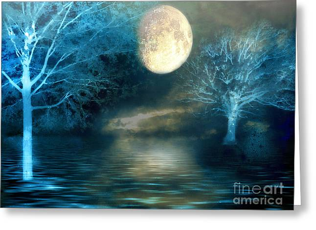 Print On Canvas Photographs Greeting Cards - Dreamy Blue Moon Nature Trees - Surreal Full Blue Moon Nature Trees Fantasy Art Greeting Card by Kathy Fornal