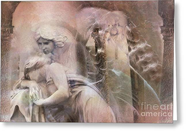 Dreamy Ethereal Sad Morning Angel Art - Spiritual Ghostly Angel Art Photos Greeting Card