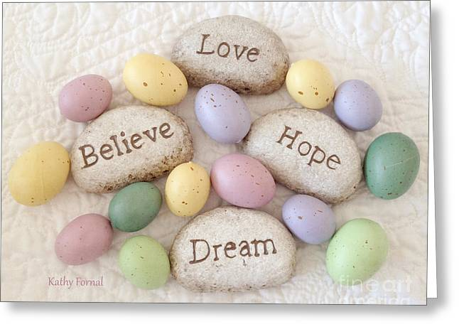 Dreamy Inspirational Easter Photography - Love Believe Hope Dream Rocks Of Faith With Easter Eggs Greeting Card by Kathy Fornal