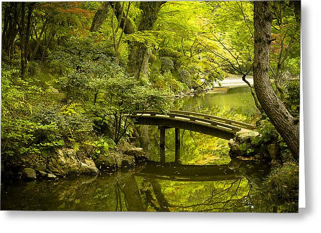 Dreamy Japanese Garden Greeting Card by Sebastian Musial