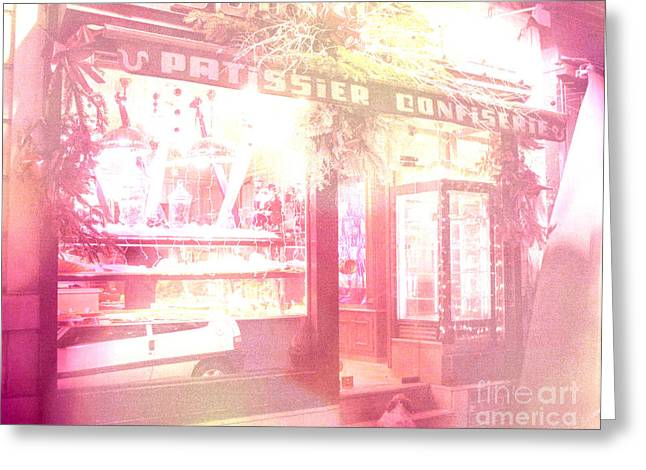 Paris Shops Greeting Cards - Dreamy Paris Pink Confectionary Candy and Pastry Shop Greeting Card by Kathy Fornal