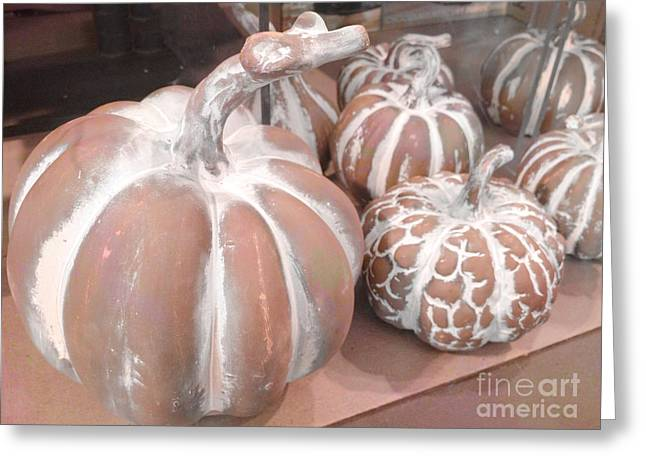 Pastel Pumpkins On Table - Autumn Fall Pumpkin Gourds   Greeting Card by Kathy Fornal