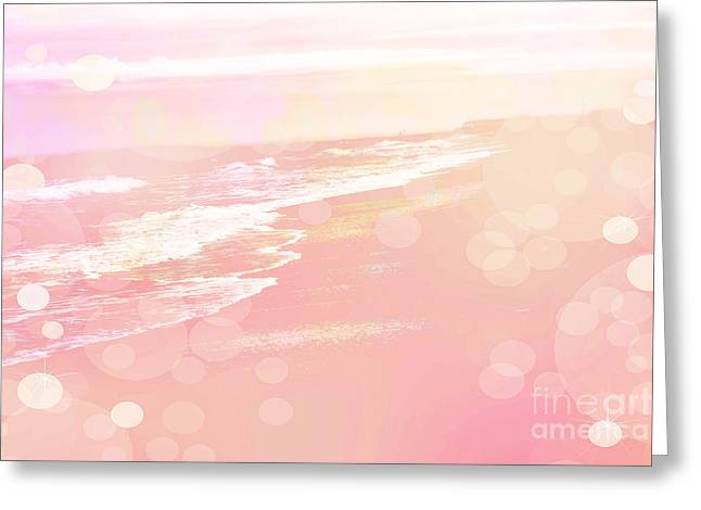 Dreamy Pink Beach Ocean Coastal Wrightsville Beach North Carolina - Surreal Pink Bokeh Ocean Waves Greeting Card by Kathy Fornal
