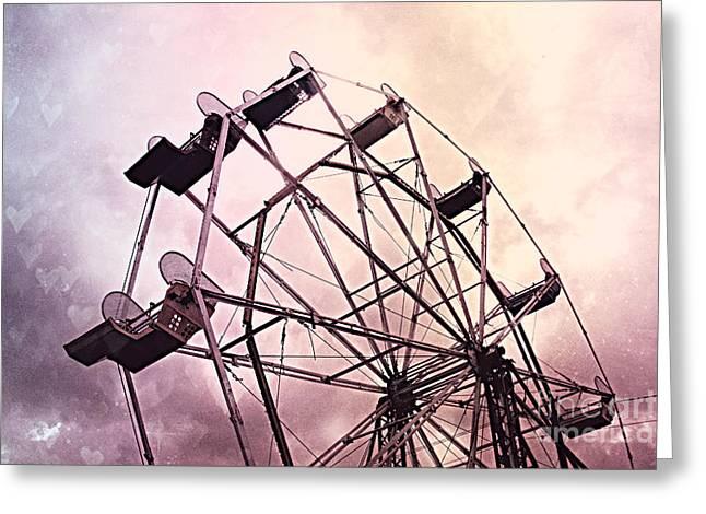 Dreamy Pink Lavender Baby Girl Nursery Ferris Wheel - Carnival Fair Ferris Wheel With Hearts Greeting Card