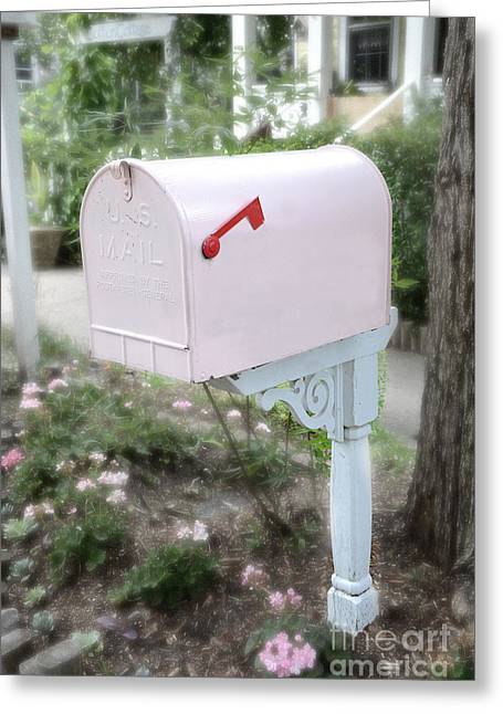 Dreamy Pink Mailbox - Shabby Chic Cottage Chic Garden Pink Mailbox - Romantic Pink Mailbox Greeting Card by Kathy Fornal