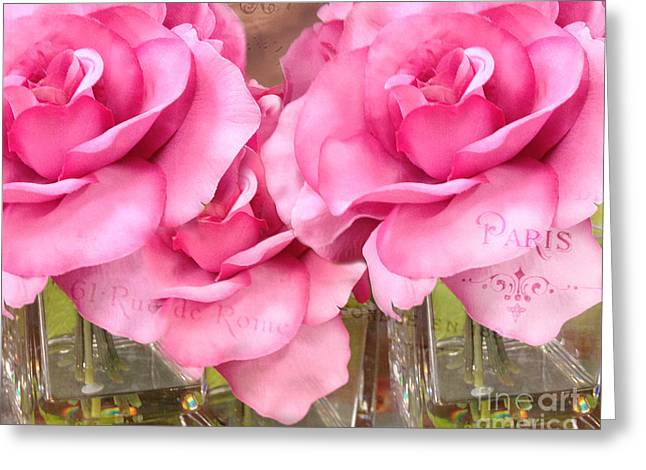 Dreamy Romantic Pink Roses Cottage Garden Shabby Chic Paris Roses  Greeting Card