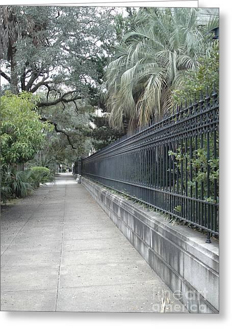 Dreamy Savannah Georgia Street Architecture Rod Iron Gates With Palm Trees  Greeting Card