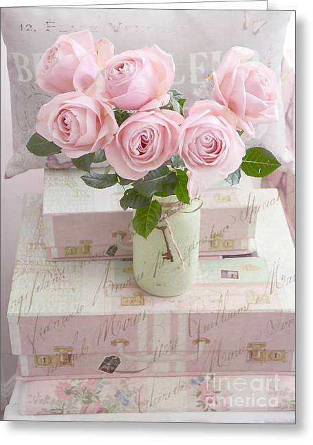 Dreamy Shabby Chic Cottage Pink Teal Romantic Floral Bouquet Roses In Ball Jar - Shabby Chic Pink  Greeting Card by Kathy Fornal