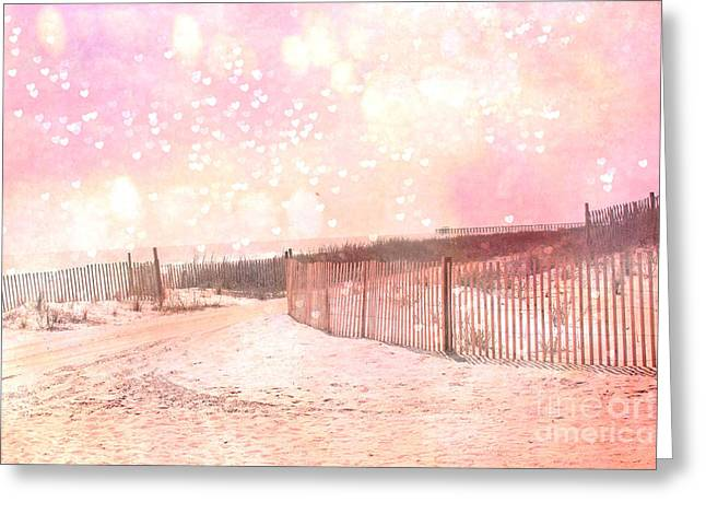 Dreamy Shabby Chic Pink Beach Coastal Art With Hearts And Bokeh Circles - Pastel Pink Beach Art Greeting Card by Kathy Fornal