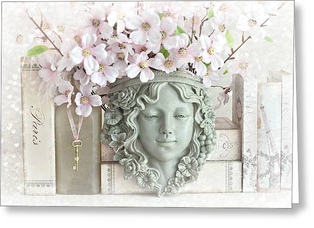 Dreamy Shabby Chic Pink Blossoms Paris Books Floral Art  - Romantic Paris Shabby Chic Pink Floral Greeting Card