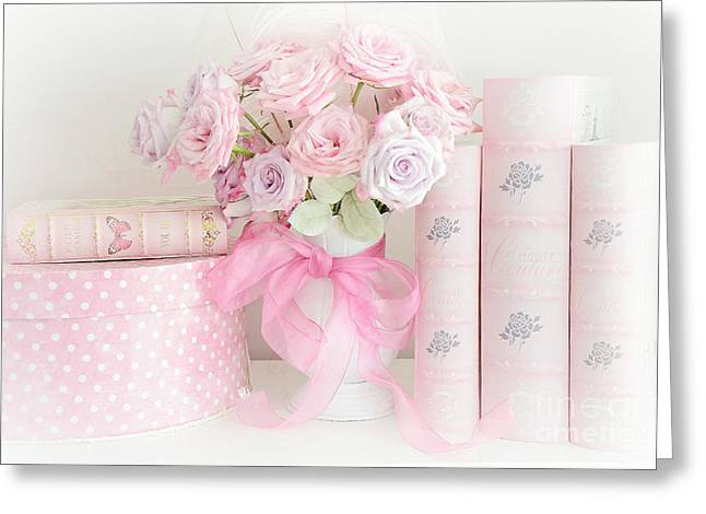 Dreamy Shabby Chic Pink Roses Pink Books Cottage Art - Romantic Pink Pastel Roses Pink Books Art Greeting Card by Kathy Fornal