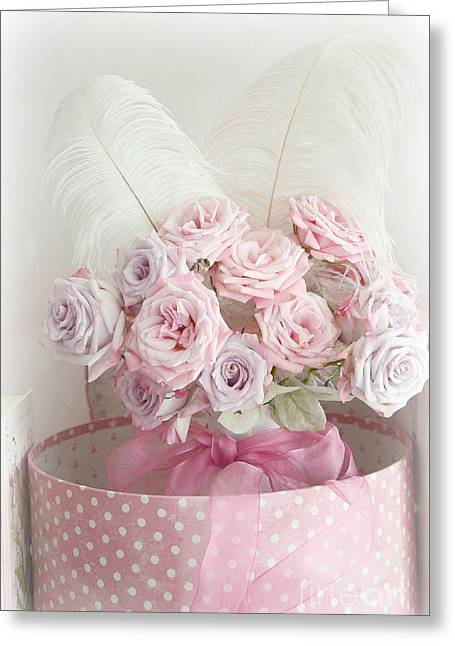 Dreamy Shabby Chic Roses In Pink Polka Dot Hat Box - Romantic Roses Floral Bouquet Greeting Card