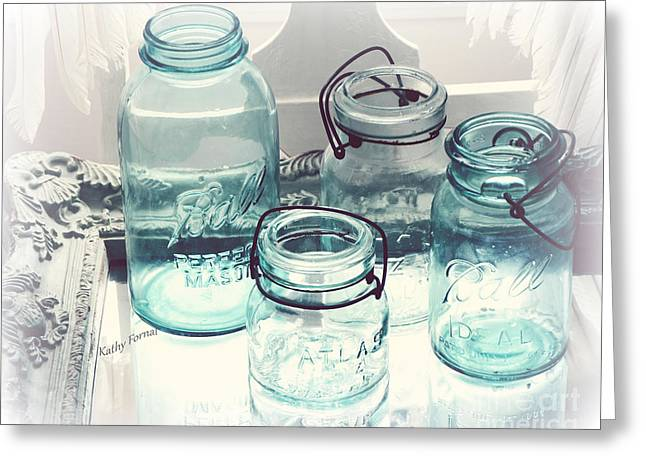 Dreamy Shabby Chic Vintage Ball Mason Atlas Jars - Aqua Blue Vintage Mason Ball Jars Greeting Card by Kathy Fornal