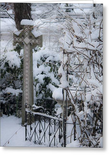 Dreamy Snowy Cross Greeting Card by Teresa Mucha
