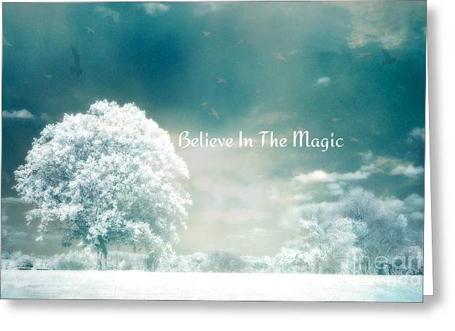 Dreamy Surreal Ethereal Infrared Inspirational Nature Photography - Aqua Mint Turquoise Nature Trees Greeting Card by Kathy Fornal