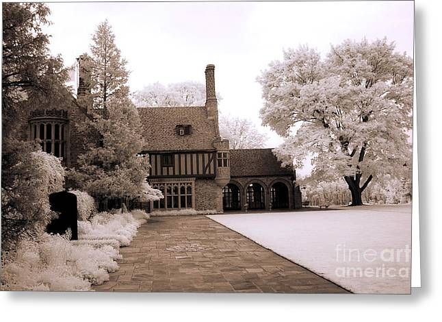 Dreamy Surreal Infrared Michigan Meadowbrook Mansion Landscape Greeting Card by Kathy Fornal