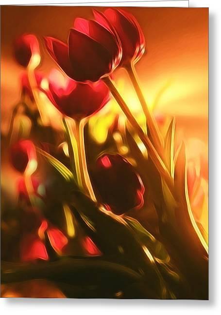Dreamy Tulips Greeting Card by Georgiana Romanovna