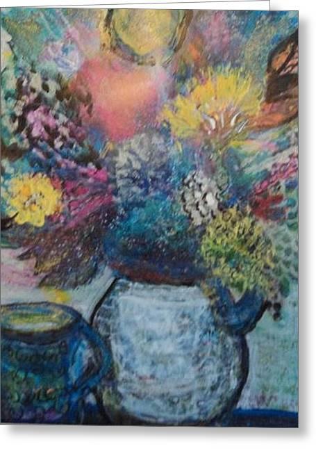 Dreamy Whimsical Floral  Greeting Card by Anne-Elizabeth Whiteway