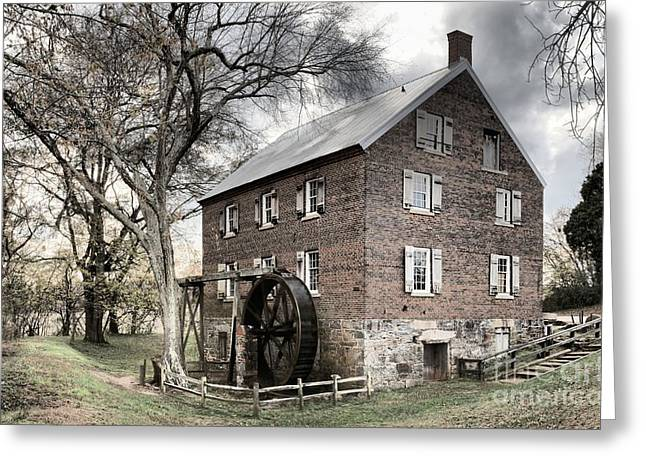 Dreary Skies At Kerr Gristmill Greeting Card by Adam Jewell