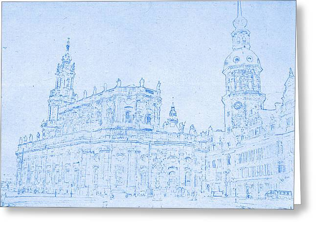 Dresden Germany Blueprint Greeting Card by Celestial Images