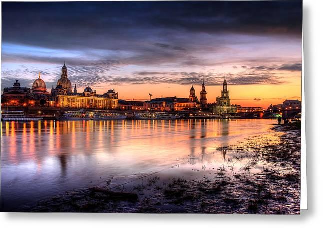 Dresden Sunset Greeting Card by Steffen Gierok