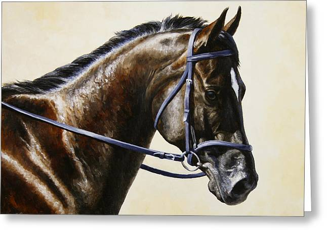 Dressage Horse - Concentration Greeting Card by Crista Forest