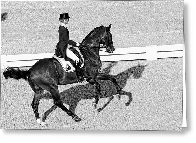 Dressage Une Noir Greeting Card by Alice Gipson