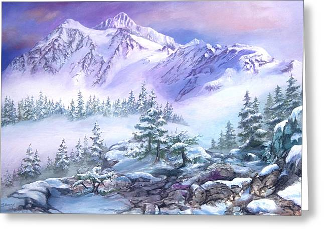 Greeting Card featuring the painting Dressed In White Mount Shuksan by Sherry Shipley
